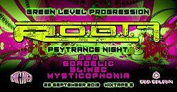 Party Flyer GREEN LEVEL PROGRESSION - R.o.b.t.F. Live / Psytrance Night 28 Sep '19, 22:00