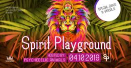 Party Flyer ✷ Spirit Playground ✷ 24/7 Animals - finest Psytrance & more 4 Oct '19, 22:00