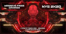 Party Flyer Massive Free Damage Nye 2K20 / 2 stages (Psytrance/Goa & Tekno) 31 Dec '19, 22:00
