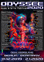 Party Flyer ODYSSEE 2020 - berlins new years eve psychedelic music & arts festival - 31 Dec '19, 22:00