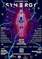 Party Flyer Synergy New Year Festival 31 Dec '19, 20:00