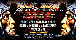 Party Flyer PsyPort Collective presents: ARTYFICIAL - little things in life 3. Jan. 20, 23:00