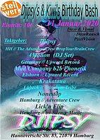 Party Flyer Djipsy's & Kiwi's Birthday Bash 11 Jan '20, 22:00
