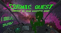Party Flyer Cosmic Quest - Suntrip Records 15 year birthday bash 17 Jan '20, 23:00