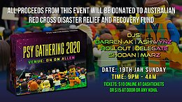 Party Flyer Trancendence Psy Gathering: Aus Bushfires Fundraiser: 19th Jan 19 Jan '20, 21:00