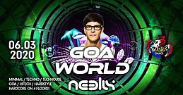 Party Flyer Goa World 2 Jahres Special Neelix Live 4 Floors 6 Mar '20, 22:00