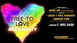 Party Flyer Free To Love / UV Neon Party 7 Mar '20, 23:00