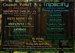 Party Flyer Cosmic Vomit 3 & Triplicity Festival 12. Apr. 20, 21:00