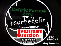 """Party Flyer """"DarkForest"""" psychedelic livestream session 24 Apr '20, 16:00"""