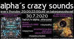 Party Flyer alpha.s crazy sounds - va ÖREBRO FREAK FACTORY 5 + -Z- (alpha & antagon) set 30 Jul '20, 20:00