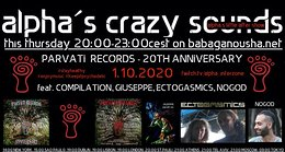 Party Flyer alpha.s crazy sounds - PARVATI RECORDS - 20TH ANNIVERSARY 1 Oct '20, 20:00