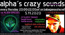Party Flyer alpha.s crazy sounds - va ALIEN SPECIES + LAPIDAR live mix 5 Nov '20, 20:00
