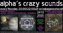 Party Flyer alpha.s crazy sounds: AKASHA PROJECT + TENGRI 24 Dec '20, 20:00