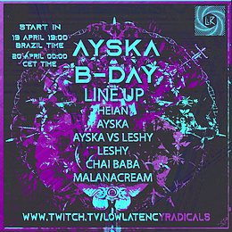 Party flyer: lowlatency_live-special | BDAY BASH with guest streamers celebrating bicycle day 20. Apr. 21, 00:00