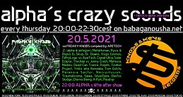 Party flyer: alpha.s crazy sounds: va FREAKY KNOBS 3 compiled by Apetech 20 May '21, 20:00