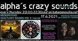 Party flyer: alpha.s crazy sounds: NECROPSYCHO ep + live set + OGOUN feat MAKWENA album 17 Jun '21, 20:00