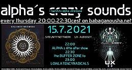 Party Flyer alpha.s crazy sounds: SYB UNITY NETTWERK album, UX album, ICD-10 preview 15 Jul '21, 20:00