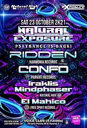 Party flyer: Natural Exposure presents Ridden / Confo / Mindphaser & El Mahico in Athens 23 Oct '21, 23:30