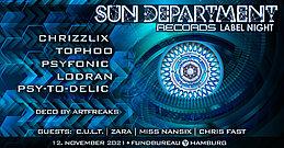Party flyer: Sun Department Label Night & Friends 12 Nov '21, 23:00