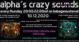 Party Flyer alpha.s crazy sounds - B. ASHRA album THE SOUND OF DMT + SANATHANA album C2D2C 10 Dec '20, 20:00