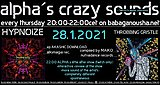 Party Flyer alpha.s crazy sounds - HYPNOIZE ep + va THROBBING GRISTLE 28. Jan. 21, 20:00