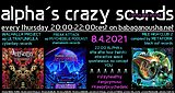 Party Flyer alpha.s crazy sounds: WALHALLA PROJECT, FREAK ATTACK, MILE HIGH CLUB 2 8. Apr. 21, 20:00